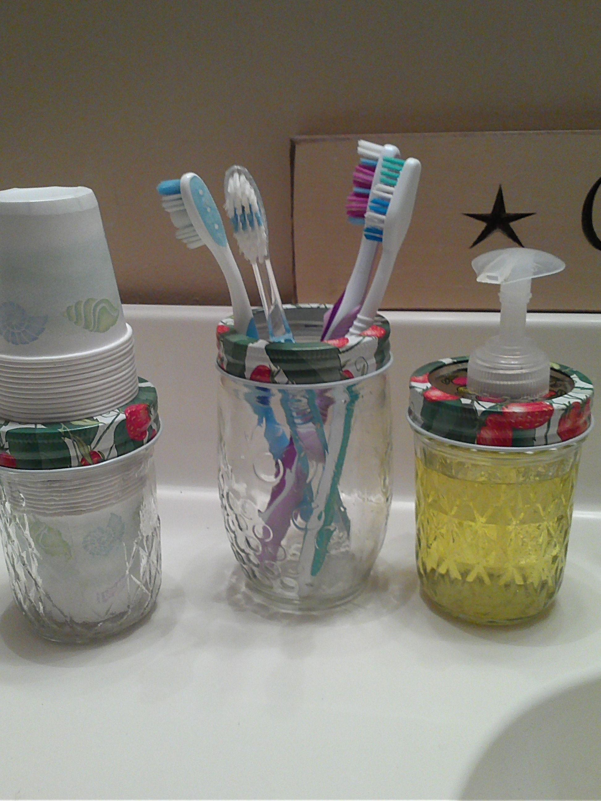 Bathroom Set/mason Jars, Dixie Cup Dispenser, Toothbrush Holder, And Soap  Dispenser.