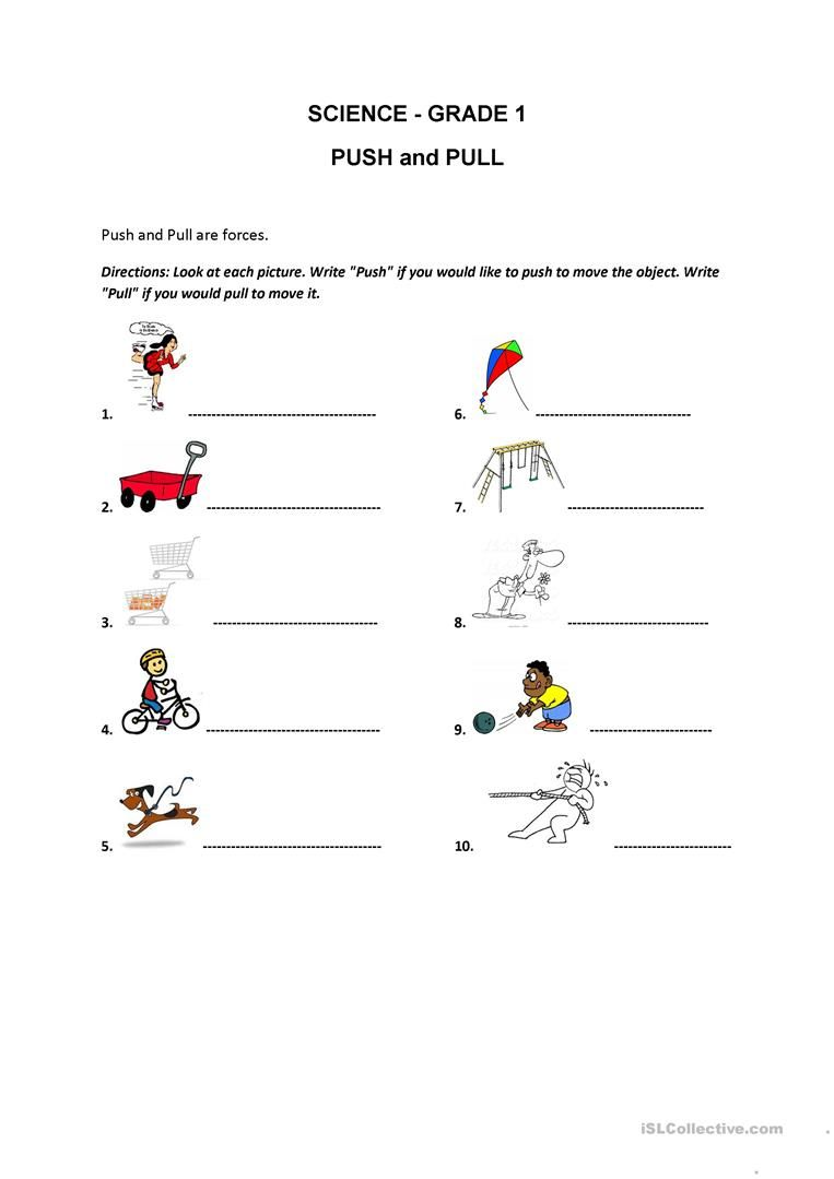Image result for esl free printable push and pull grade 1