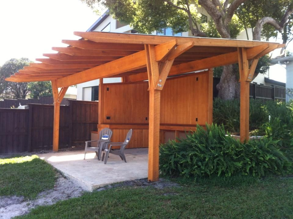 Cypress Pergola with a metal roof. Designed and built by FineWood Studio. - Cypress Pergola With A Metal Roof. Designed And Built By FineWood