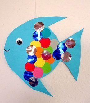 Fisch aus Bierdeckel - Tiere Basteln - Meine Enkel und ich - Made with schwedesign.de #animalcraftsforkids