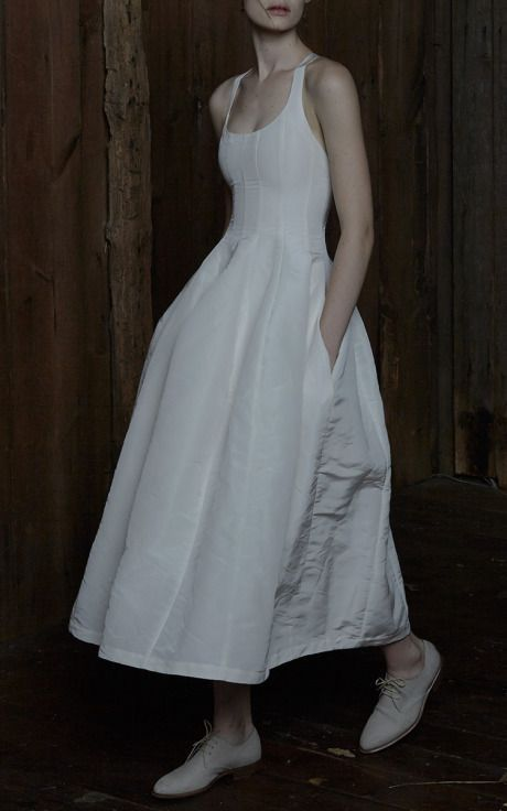 Brock Collection White Denim Dress Fashion Trendy Dresses Daphne Dress