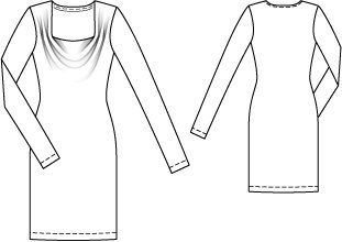 Cowl Neck Jersey Dress 10/2014 #111 - BurdaStyle (sewing pattern for two-way stretch knits with some body, dress sizes 36-44)