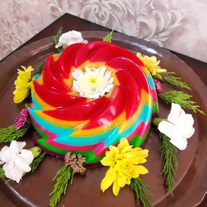 طرز تهیه ژله رنگین کمان خوشمزه و مجلسی با شیر و بستنی Cake Desserts Birthday Cake