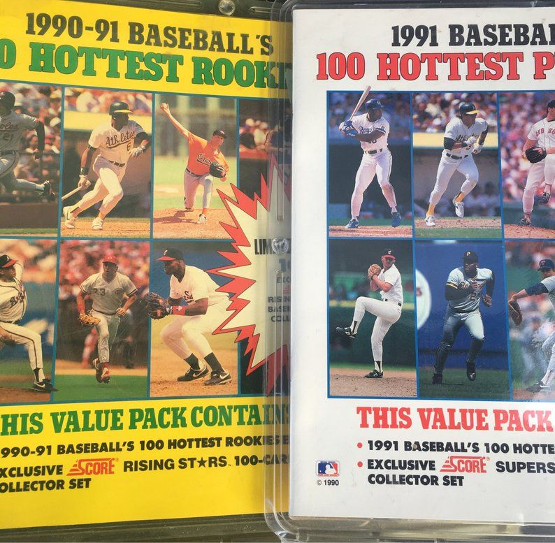 Set of 2 19901991 Hottest 100 Baseball Players Cards and