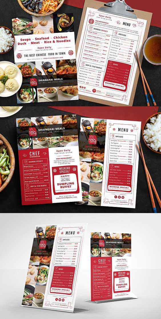 Chinese Restaurant Menu Template In Psd Vector Here We Have A Complete Set Of Menu Flyer Temp Menu Restaurant Chinese Restaurant Food Menu Design