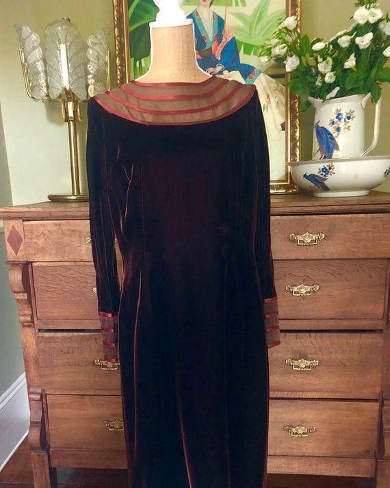 Beautiful Vintage 1950s London Town Chestnut Brown Velvet Satin Dresses Simple Gowns Dresses Uk