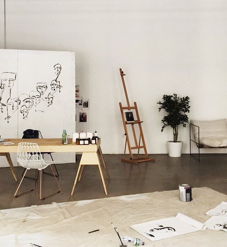 22 Scandinavian Home Office Designs Decorating Ideas: Minimalist Scandinavian Art Studio // Tumblr Room Decor