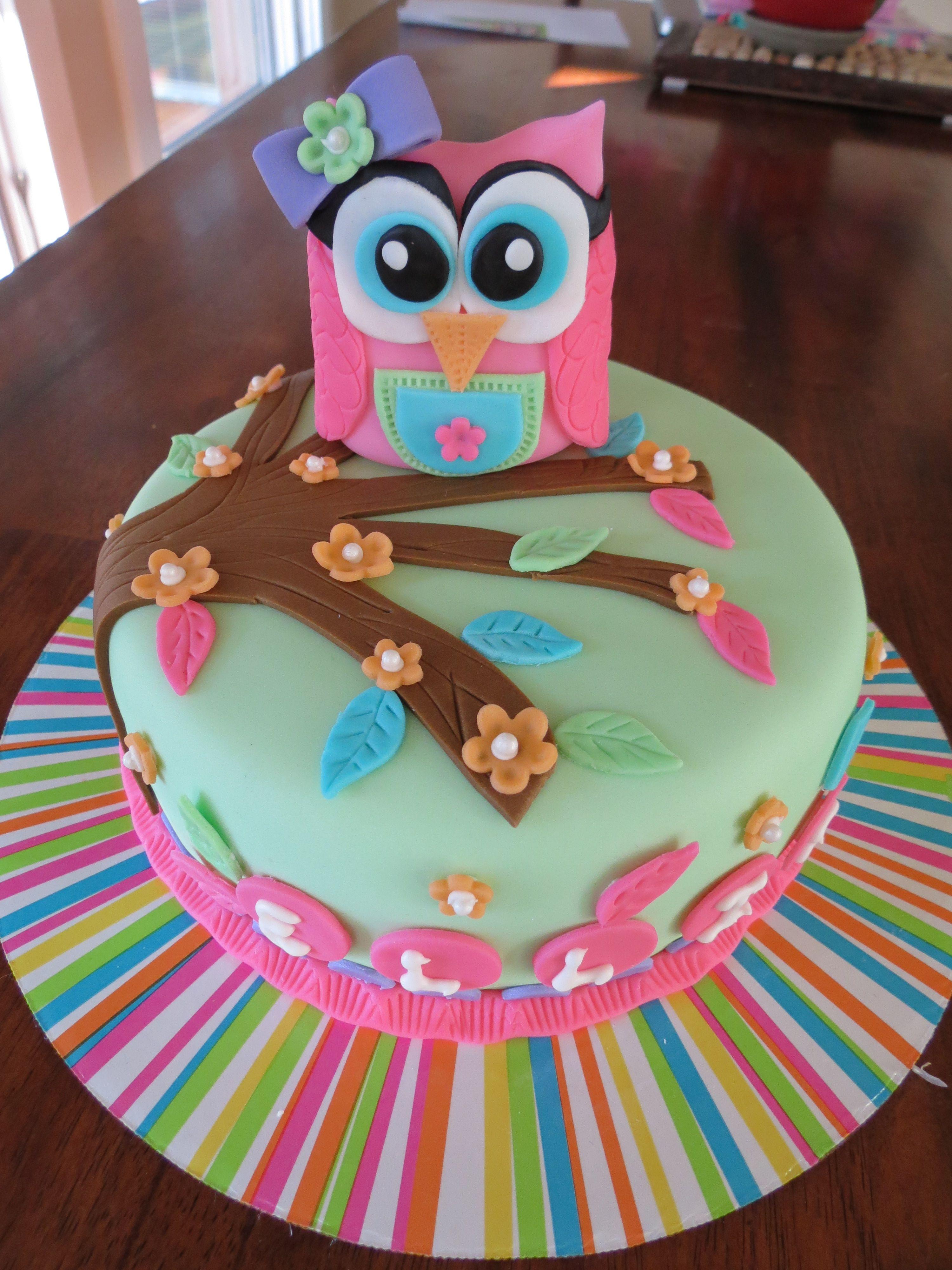 Astounding Custom Girl Themed Owl Cake For First Birthday White Cake With Personalised Birthday Cards Akebfashionlily Jamesorg