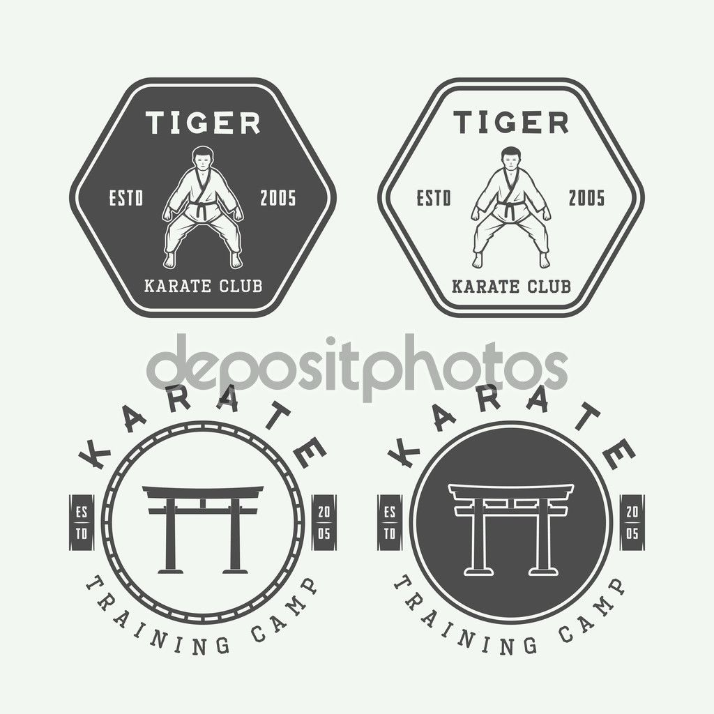 Set of vintage karate or martial arts logo, emblem, badge, label and design elements. Click through for more gym, yoga, and fitness logo ideas...
