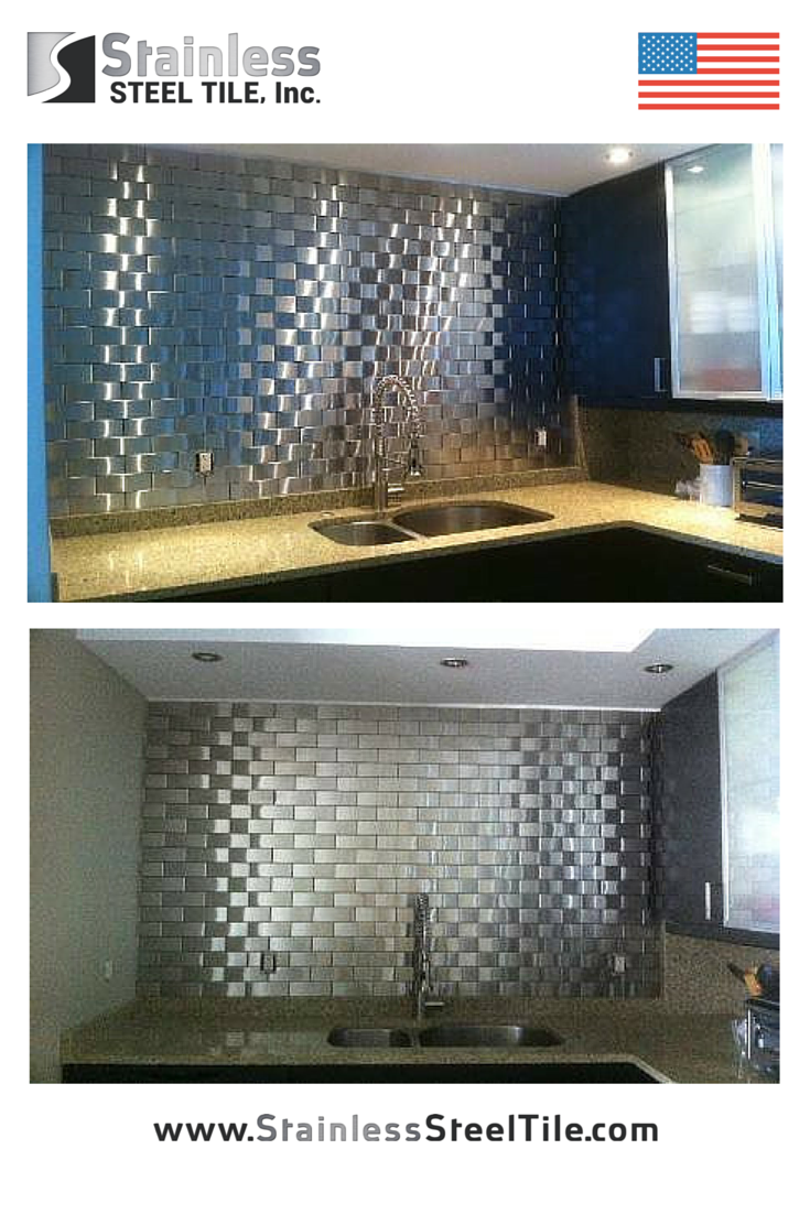 stainless steel tile kitchen backsplash modern metal tiles brick pattern subway tile pattern