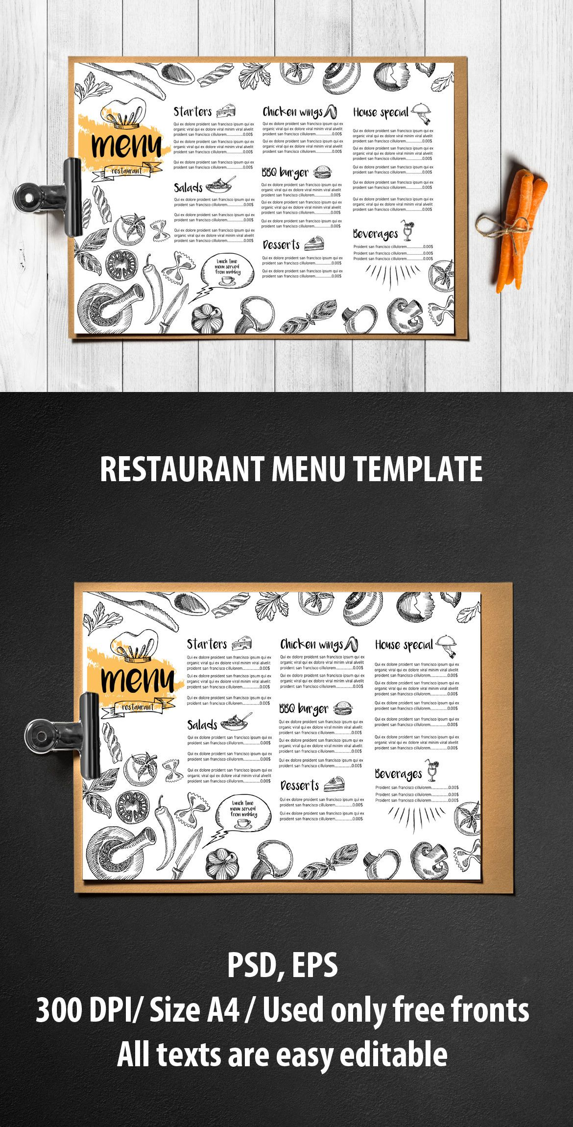 Menu Food Template Vector EPS PSD