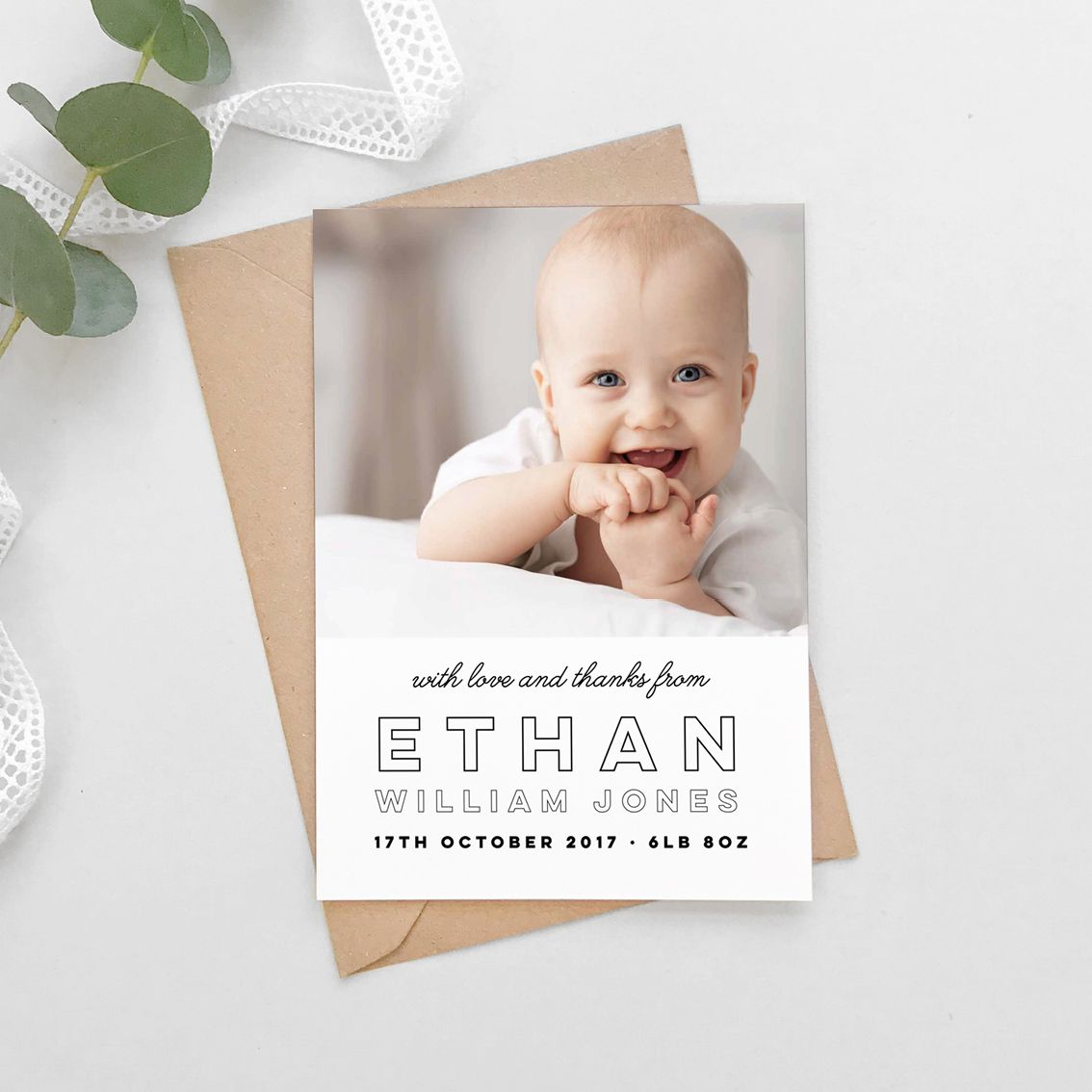 modern text new baby photo thank you cards  baby thank