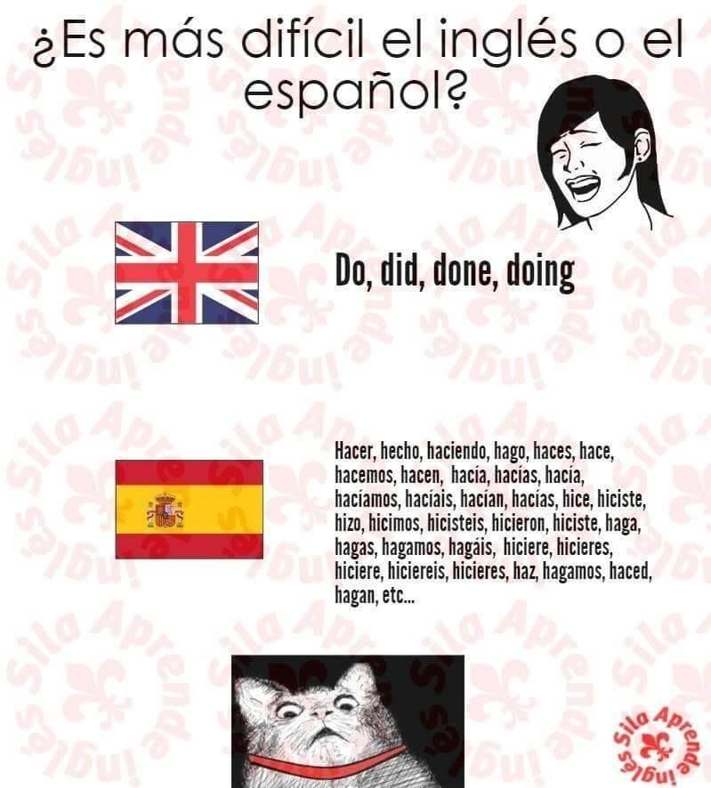 El Espanol Es Mas Facil Que El Ingles English Spanish Espanol Ingles Spanish Humor Spanish Jokes Memes