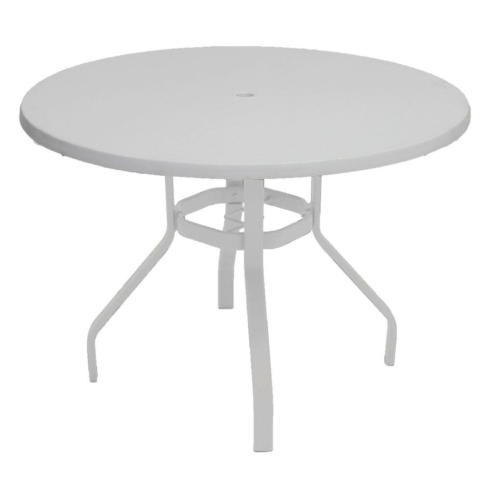 Marco Island 42 In White Round Commercial Fiberglass Metal Outdoor Patio Dining Table B42u W The Home Depot Patio Dining Table Round Outdoor Dining Table Outdoor Dinner Table White round patio table