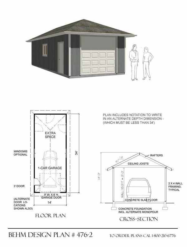14 X 34 34 X 14 14x34 34x14 14 X34 34 X14 34 X 14 One Car Garage 1 Car Onecar Garage With Shop Storage Extra Deep Extra Garage Plans Garage Plan Hip Roof