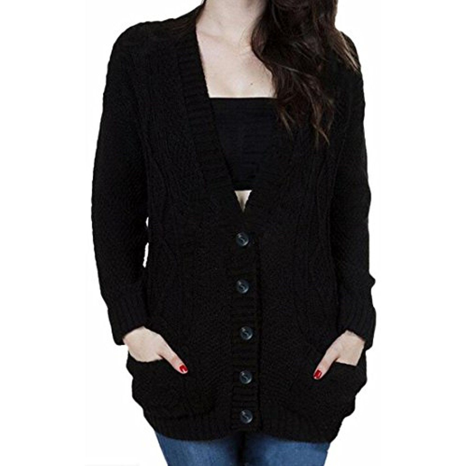 NQ Women's Loose Knit V Neck Batwing Sleeves Button Up Sweater ...