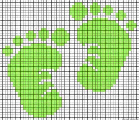 impronta dei piedi - punto croce - cross Stitch - Kreuzstich - Punto de Cruz