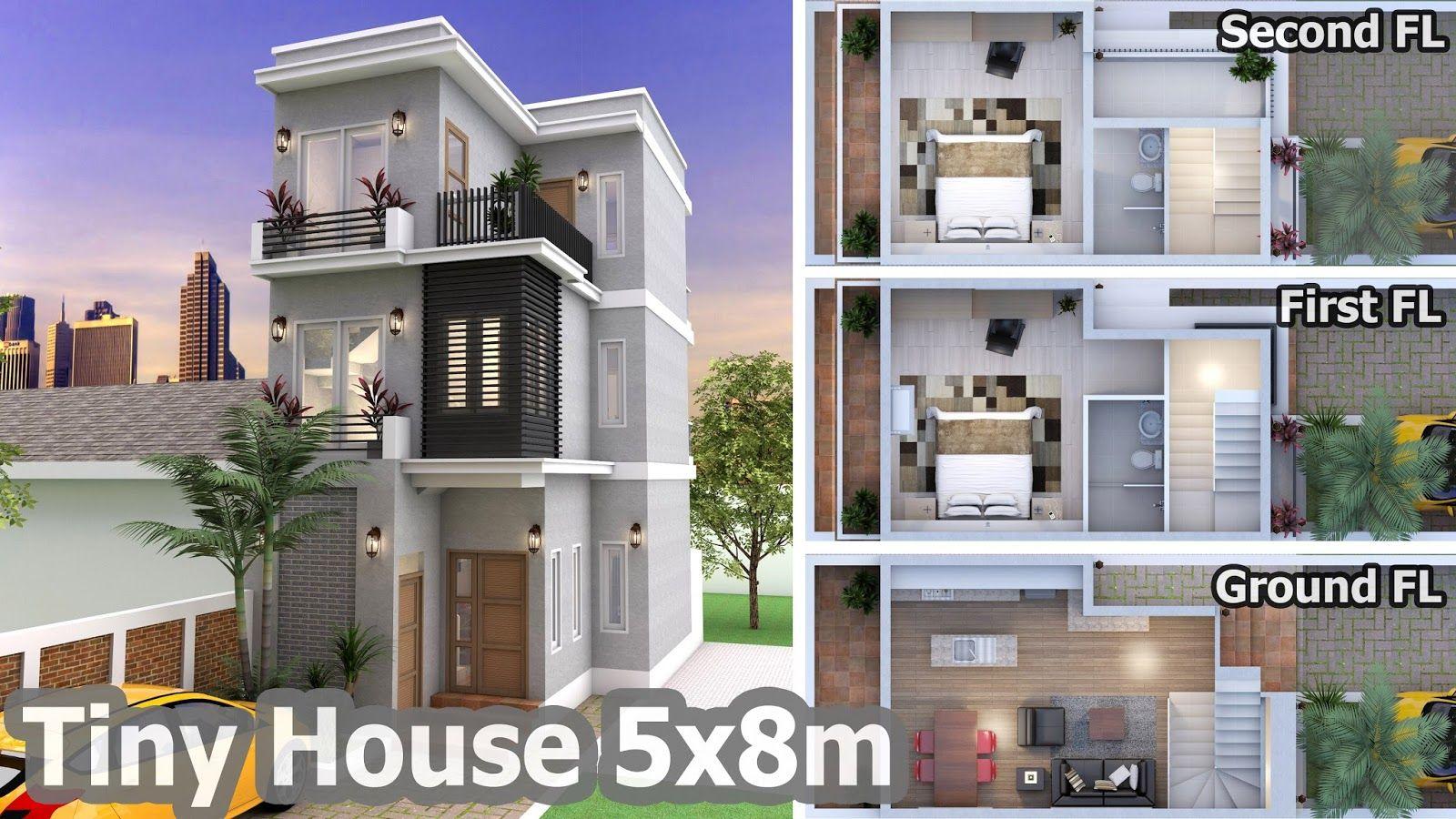 2 Bedroom Tiny Home Plan 5x8m Tiny House Plans Model House Plan House Plans