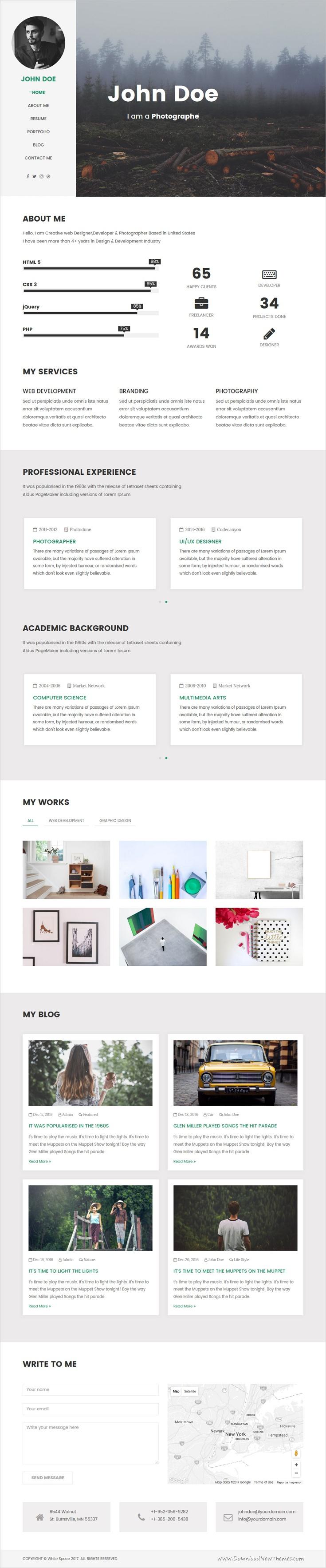 White Space Personal Portfolio  Resume Template  Personal