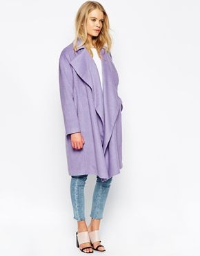 Enlarge ASOS Duster Coat With Waterfall Detail In Cocoon Fit