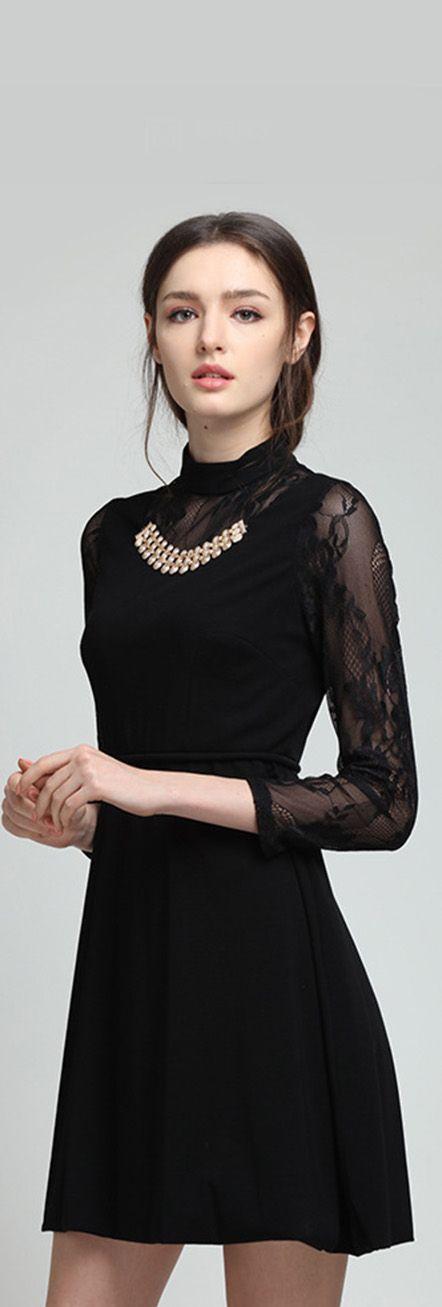 Black Sheer Sleeves Metallic Dress