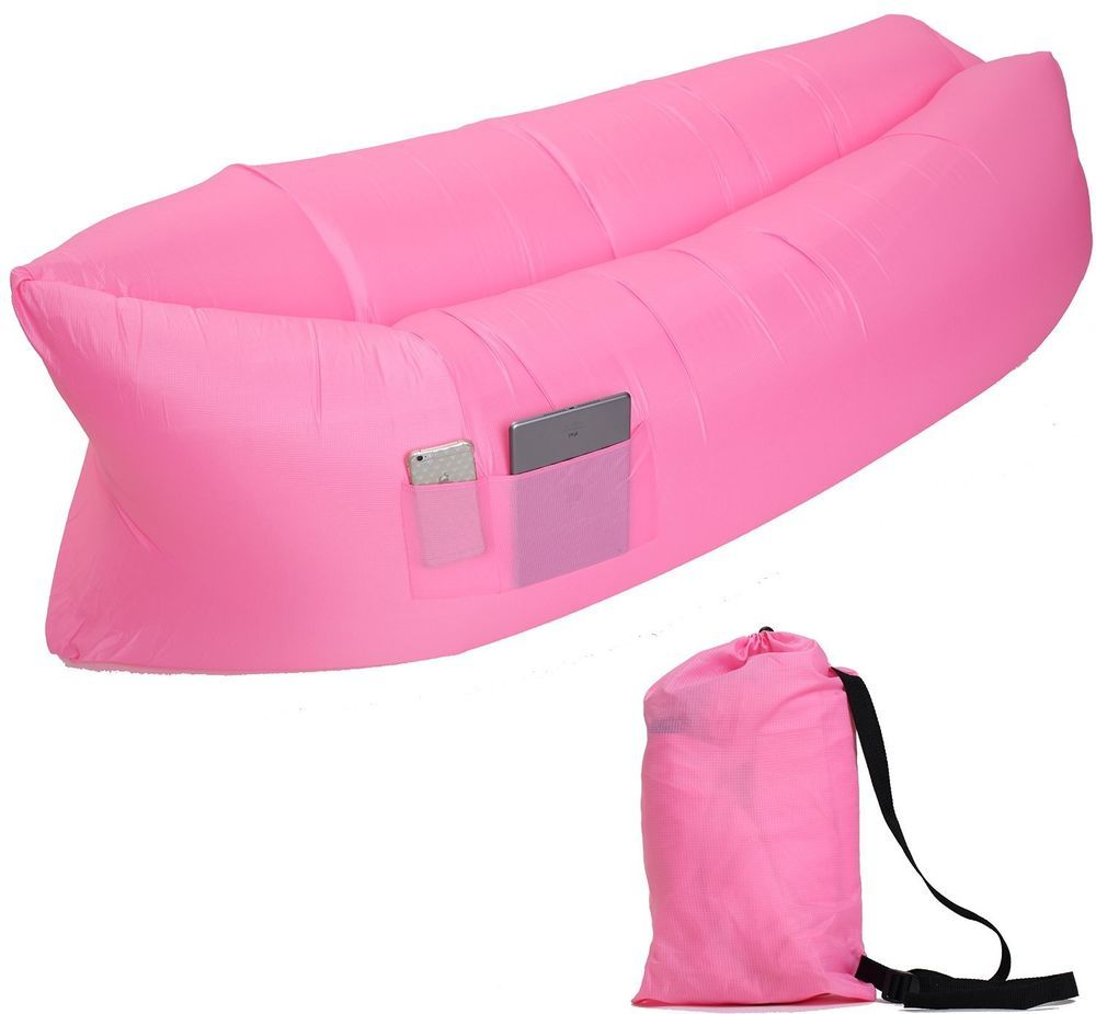 Air Sofa Bed Portable Camping Hammock Outdoor lounge Inflatable Lounge Pink New #HWBubble