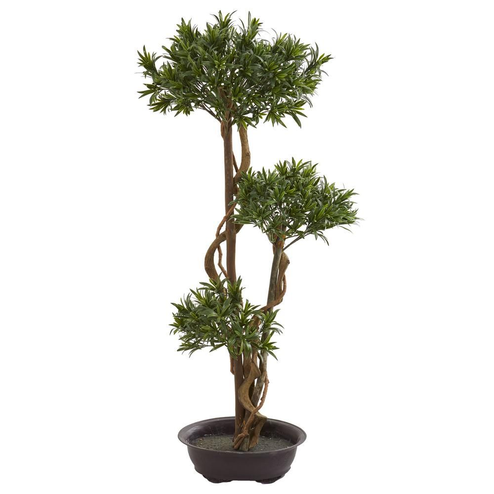 Nearly Natural Indoor 46 In Bonsai Styled Podocarpus Artificial Tree 5556 The Home Depot In 2020 Bonsai Styles Faux Tree Artificial Tree