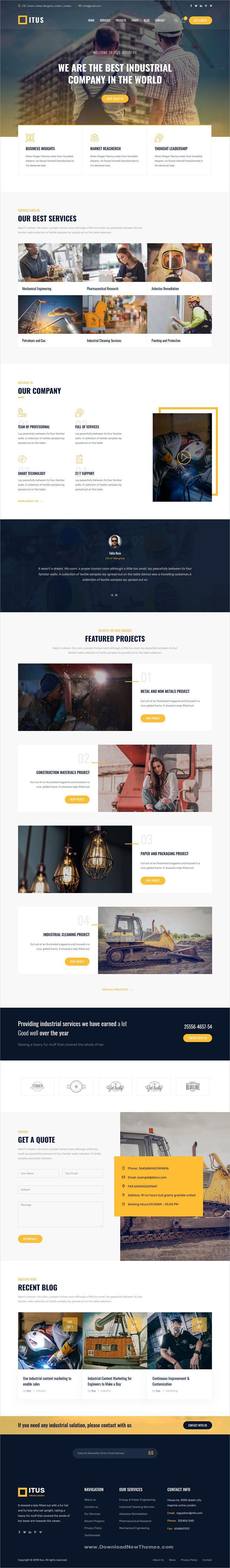 Itus Industrial Manufacturing Wordpress Theme Business Website Templates Wordpress Wordpress Theme