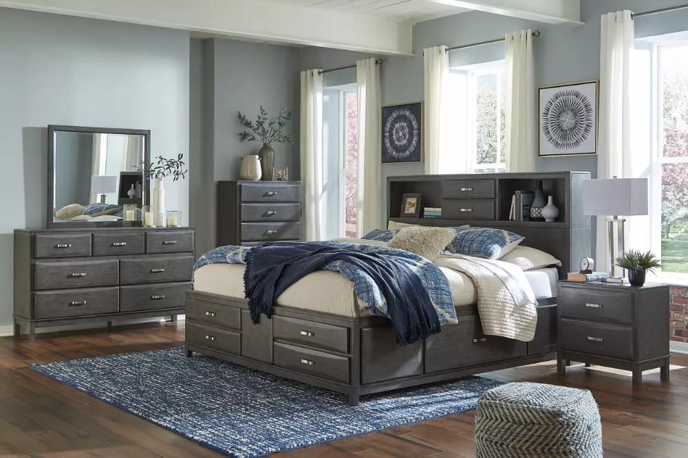 Caitbrook Queen Storage Bed With 8 Drawers In 2020 King Bedroom Sets Grey Bedroom Set Bedroom Sets Queen