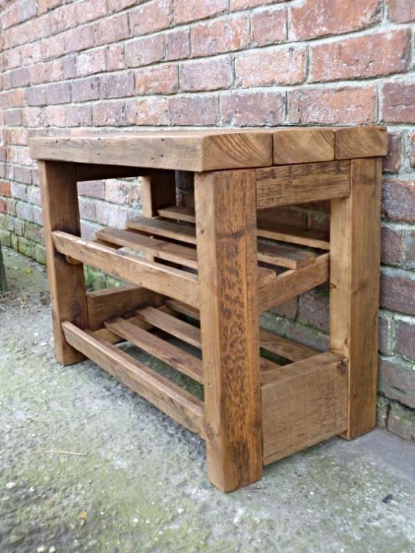 Rustic Wooden Shoe Rack With Seat 8 10 Pairs Schoenenrek Hout Batu