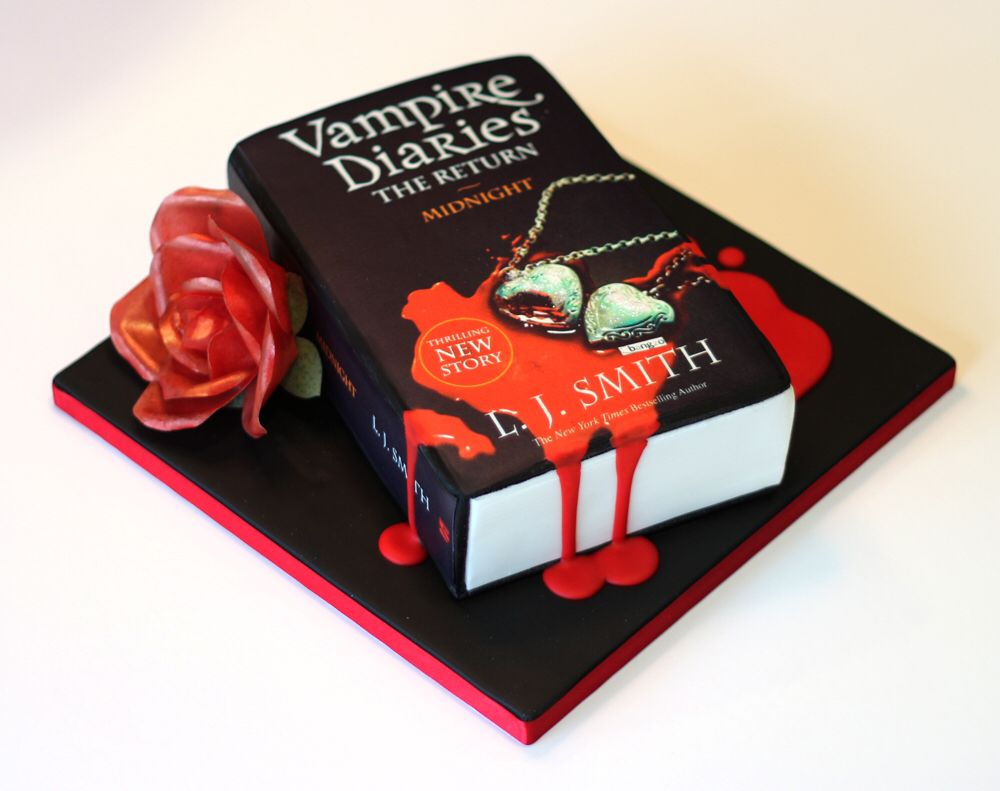 Vampire Diaries Book Birthday Cake By Bird Bakes Wafer Paper Rose