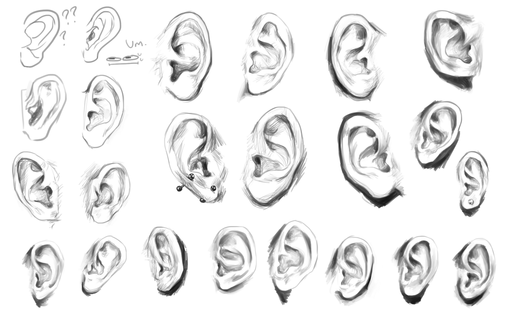 Ear Studies D Art Drawings Sketches Simple Human Anatomy Drawing How To Draw Ears