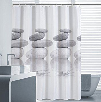 Eforcurtain Extra Long Summer Theme Shower Curtain Grey Pebbles