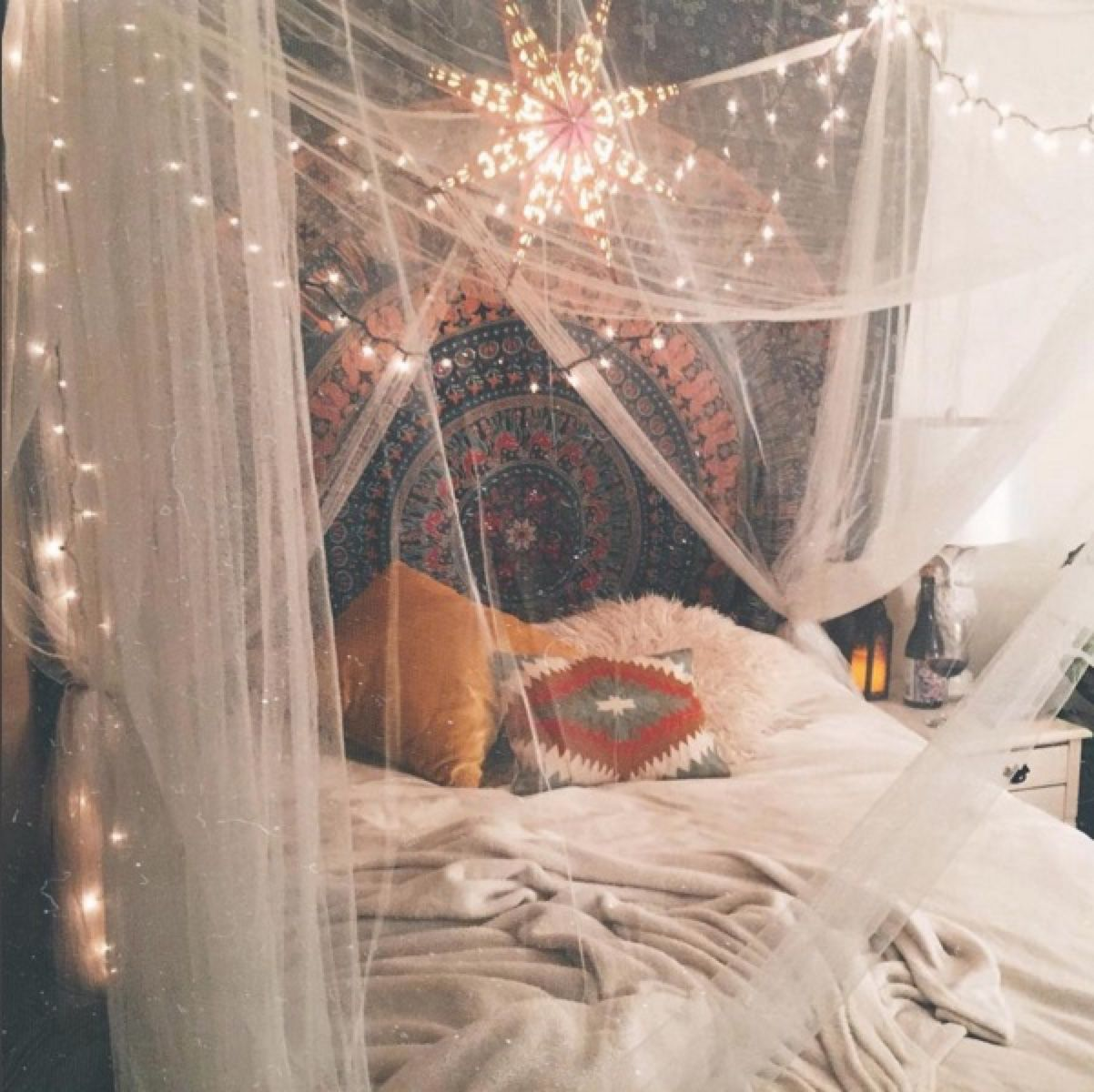 Instagram @b.ridgette Boho Bohemian Cute Bedroom Ideas Decor Tapestry Bed  Lights Colorful Urban