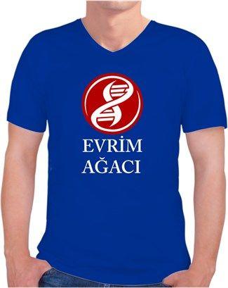 Evrim Ağacı - Logo ve Yazı - Kendin Tasarla - Erkek V Yaka Tişört