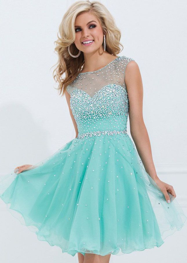 Cap Sleeve Beaded Mesh Neck Open Back Aqua Homecoming Dress ...