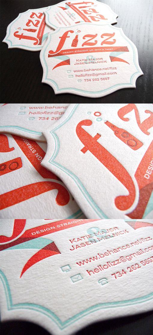 Retro Style Letterpress Die Cut Coaster Business Card