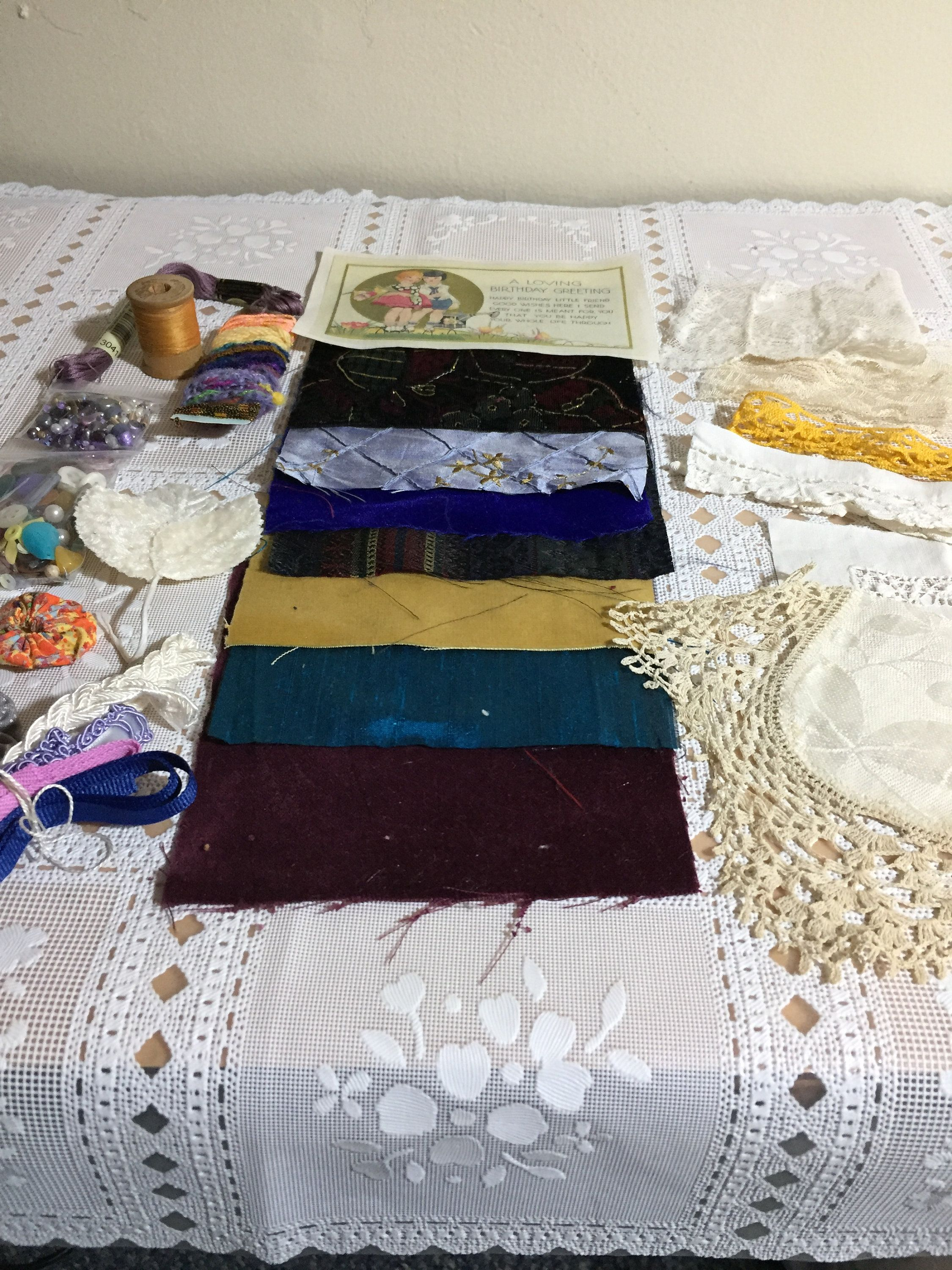 Crazy Quilt Fabric And Embellishment Pack New And Vintage Laces Trims Buttons Beads Embroidery And More Lot Cq5 Fast S Crazy Quilts Quilts Quilt Fabric