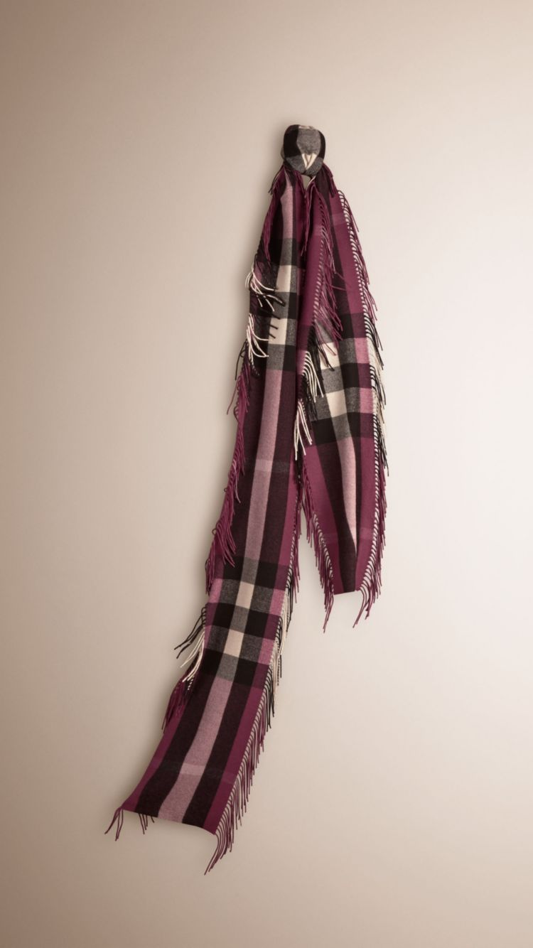 Bufanda Long Fringe en cachemir con checks