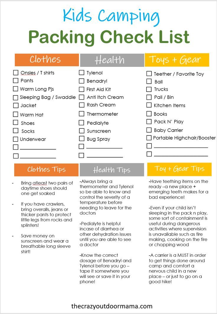 Printable Baby Camping Checklist and Planner!