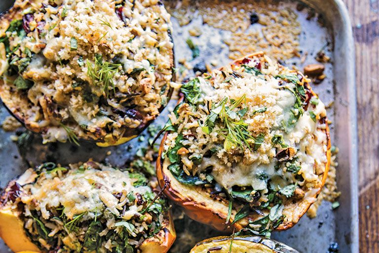 Wild Rice And Havarti Stuffed Acorn Squash With Images Cooking