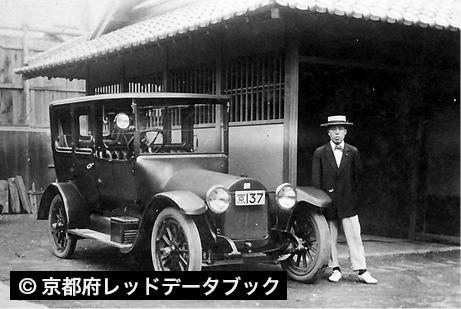 タクシー 京都市の市バスの営業が始まったのが昭和3年 1928 4月 その頃から運送業者がトラックを使うようになり タクシーも多く見られるようになった 京都市上京区出町 昭和5年 1930 頃 古写真 写真 共同体