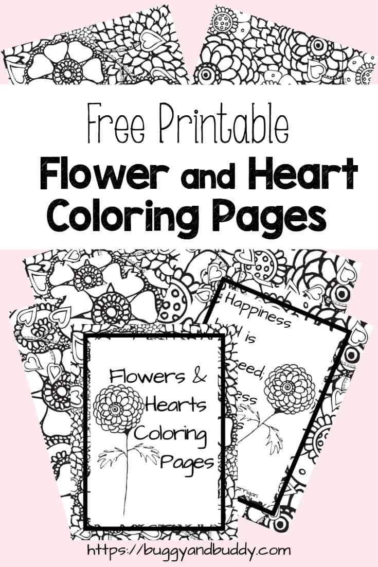 Free Printable Flower and Heart Coloring Pages Heart