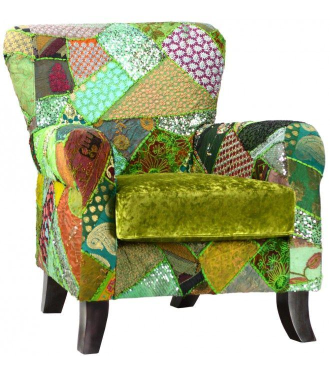 Velvet Patchwork Colorful Armchair Green