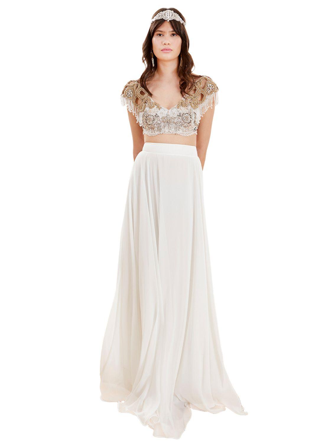 Tuvanam Beyaz Etek Ve Tasli Ust The Dress Resmi Elbise Kiyafet