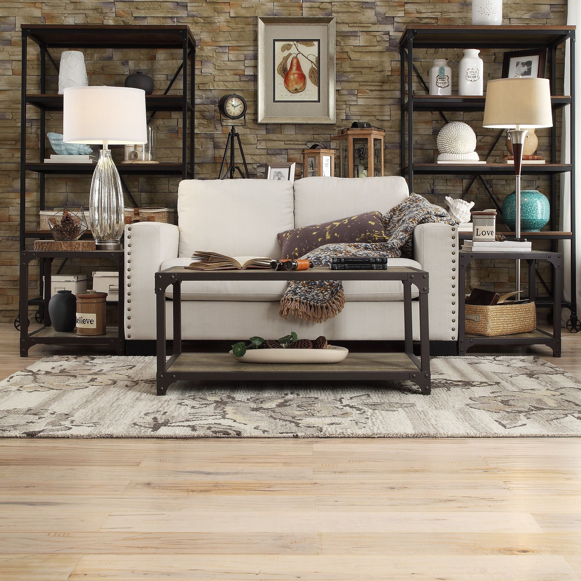 Add more layers to your living room or bedroom with this three-piece  industrial rustic