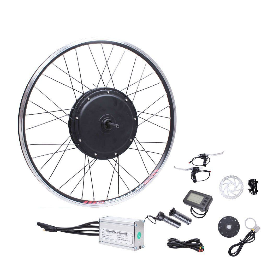 "36V 500W Motor Front Wheel Electric Bicycle Bike Conversion Kit 26"" Wheel LCD1 Display. 1.48V1000 Watts Brushless Hub Motor ,High Efficiency: >85%. 2.intelligent brushless 48V 30AH controller. 3.LCD3 Display(Function:1.Power on/off 2. PAS/Throttle 5 gear 3. 6km/h push 4. Cruise function 5. Backlight 6. Battery indicator 7. Trip data clear 8. Total trip time and distance display 9. Single Max speed and Average speed display 10. Error code display 11. Motor power display ). 4.Speed: 0-45km..."