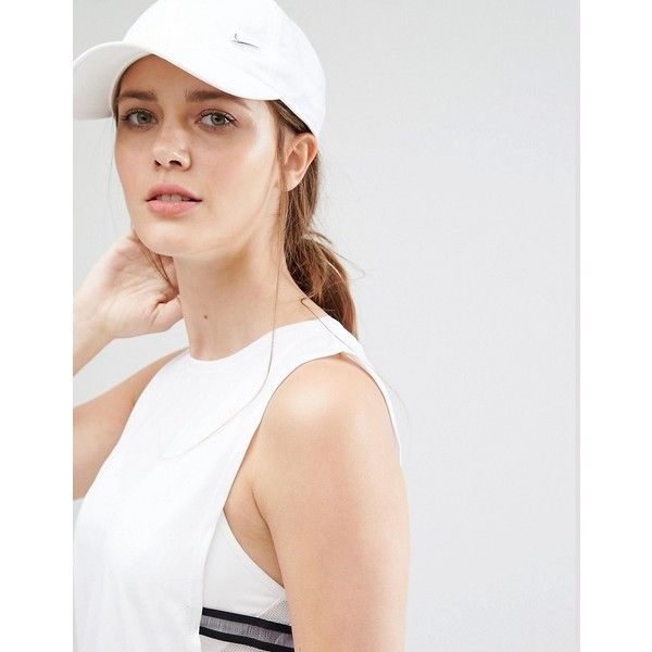 5bfc3b390deb6 Nike Swoosh Cap in White ($15) ❤ liked on Polyvore featuring accessories,  hats, white, crown cap, 5-panel hats, white snapback, strap hats and  snapback ...