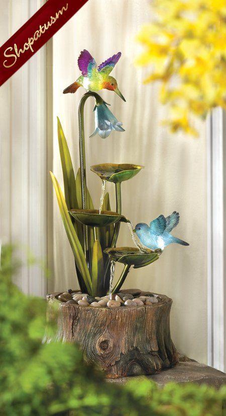 Hummingbird Haven Lighted Garden Fountain