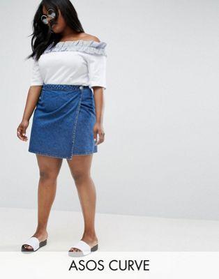 e0cbc59ba2 ASOS CURVE Denim Wrap Skirt in Mid Wash Blue